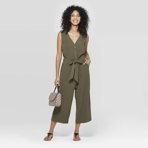 A New Day Olive Belted sleeveless Jumpsuit S